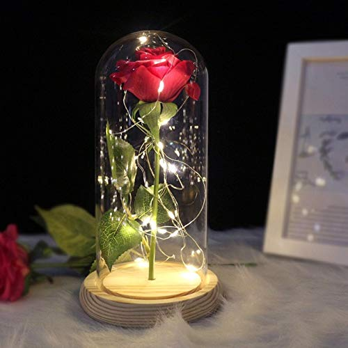 yaojing Belleza Y La Flor Eterna De La Bestia Rosa Corriendo En Una Boda De Matraz Decorado con Flores Artificiales En La Cubierta De Cristal Regalo De San Valentín 2020 Rojo
