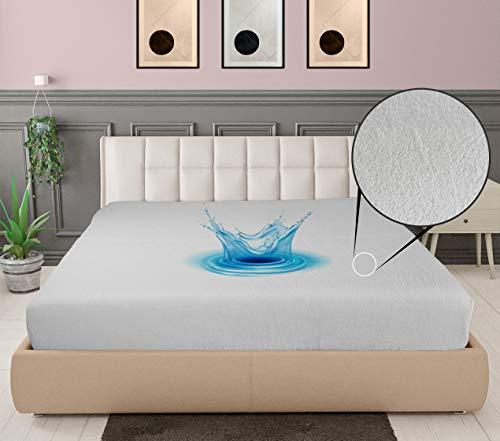 ELAFY Protector de colchón impermeable y transpirable   Sábana bajera ajustable de alta calidad de rizo de algodón y poliéster   Protector de colchón antialérgico extra profundo seis tamaños (king)