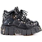 New Rock ニューロック 106 S1 ユニセックス メタリックブラック クラシックレザー バイカー ゴシック ブーツ US サイズ: 13 カラー: ブラック