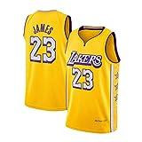Jerseys Nuevo Tejido de los Hombres de Baloncesto, Lebron James # 23, Los Angeles Lakers, Equipo, Unisex Camiseta sin Mangas, Uniforme de Baloncesto Swingman Jersey Amarillo