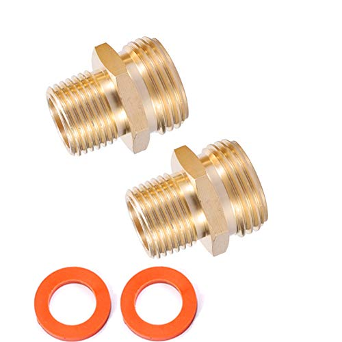 Breezliy 2PCS Female Brass Winterize Adapter 1//4 Inch Male Quick Connecting Plug /&3//4 inch Male GHT Thread /&1//4 Inch Ball Valve with 2 Pcs Washers for Winterize RV Boat Camper Trailer