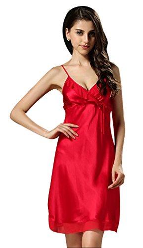 BININBOX Damen Edles Nachthemd aus Seide 100% Silk Nachtkleid Nachtwäsche mit Spagetti-Trägern Sexy Negligee (38, Rot)