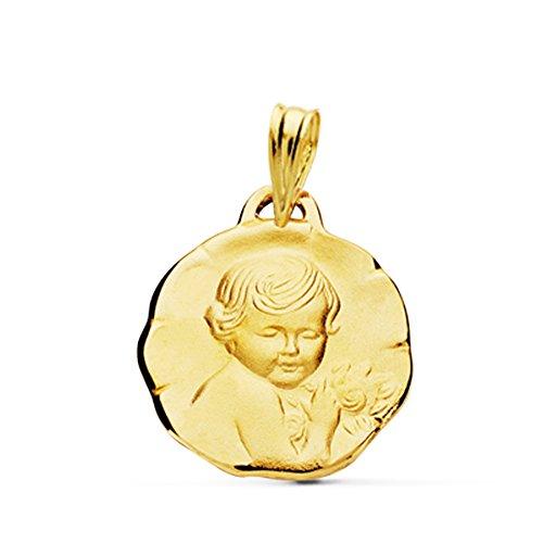 Médaille douce enfant de la fleur or 18 carats 16 mm Médaille naissance/baptême