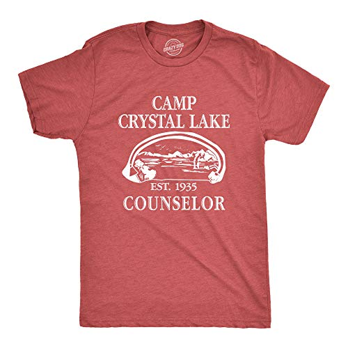 Mens Camp Crystal Lake T Shirt Funny Graphic Camping Vintage Adult Novelty Tees (Heather Red) - S