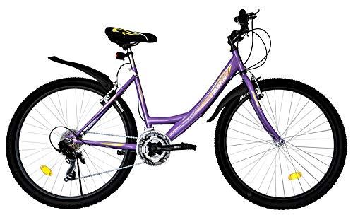 T&Y Trade 26 Zoll Kinder Mädchen Damen Fahrrad Mädchenfahrrad Mädchenrad Mountainbike MTB Bike Rad Beleuchtung STVO 21 Gang 4100 LILA