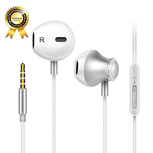 Auriculares,Auriculares con micrófono, Sistema de cancelación de Ruido y Sonido Envolvente. Compatibles con iOS Sistema,Samsung,Android y PC (Blanco)