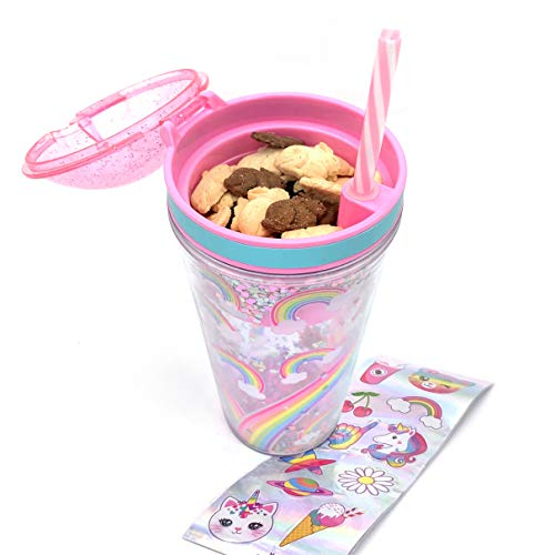 Snack and Drink Cup, Rainbow Theme, Kid's Combo All-in-One Tumbler for On-The-Go, Bonus Sheet of Fun Unicorn and Caticorn Stickers, Straw Included, Pink