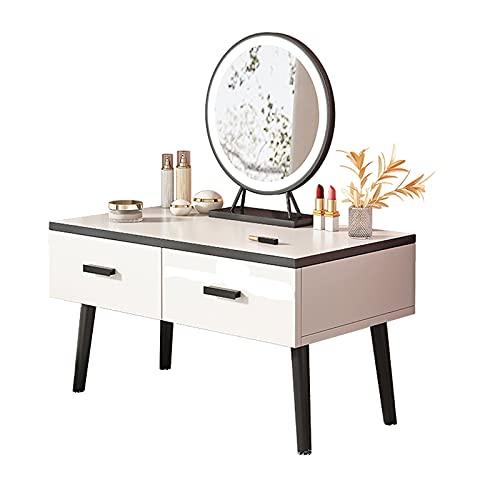 Mesa de Maquillaje Moderno tocador minimalista pequeño con espejo redondo de pantalla táctil LED iluminada, mesa de vanidad con 2 cajones para dormitorio Tocadores de dormitorio ( Size : 80cm )