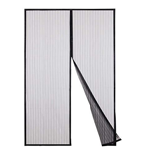 Sekey Magnet Fliegengitter Tür Vorhang für Holz, Eisen, Aluminium Türen und Balkon. Einfache Installation (240 x 140cm, Schwarz)