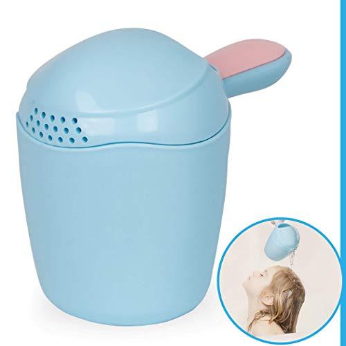 Haarwaschbecher zum tränenfreien Haare waschen, für Babys ab 0 Jahren, feines dosieren der Wassermenge, ABNEHMBARE KAPPE, großes Füllvolumen, sanft am Kopf ansetzbar dar abgerundete Kanten, blau