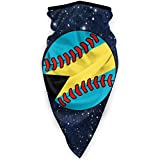 Bahamas Flag Baseball Clip Art Face Mouth Masks Windproof Sports Mask Shield Scarf Bandana Unisex Black