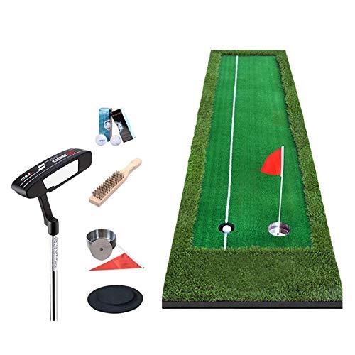 Colchonetas de putting de golf, greens de golf interior, putting ejerciter Manta de práctica artificial establecida altamente elástica EVA SolePare Manta de práctica de oficina (césped de dos colores)