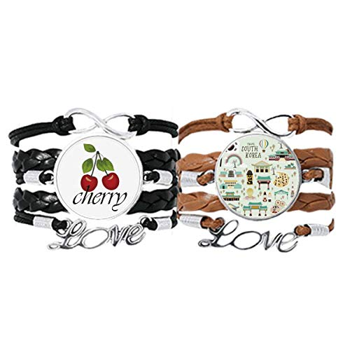 Korea Most Famous Landmarks Bracelet Hand Strap Leather Rope Cherry Love Wristband Double Set
