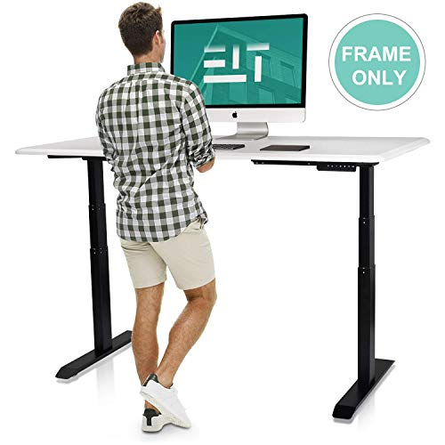 EleTab Height Adjustable Electric Standing Desk, 55 x 24 Inches Large Stand Up Desk Workstation, Full Sit Stand Home Office Table with Programmable Preset Controller, Black Frame/Black Top