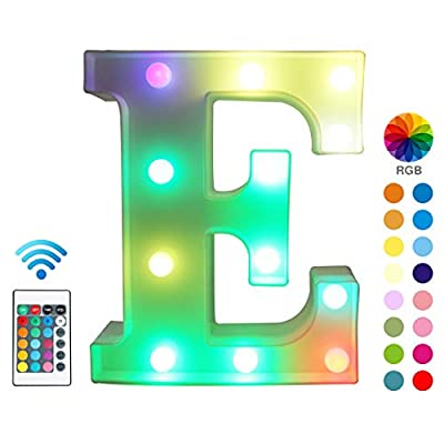 Colorful LED Marquee Letter Lights with Remote – Color Changeable Light Up Alphabet Signs – Party Bar Letters with Lights Decorations for the Home - Multicolor E from JUHUI