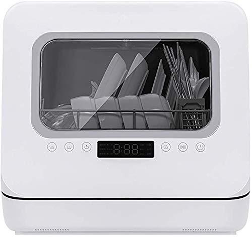 ZIJIAGE Lave-Vaisselle de comptoir Compact, Cinq Modes de Nettoyage, avec Les paramètres intérieur en Acier Inoxydable et Place, pour Appartement Bureau Et Maison Cuisine, Blanc,110 Volts