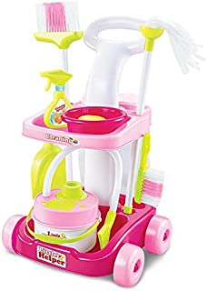 Happytoys Vacuum Cleaner Cleaning Tool Cart Trolley Role Play Toy,pink