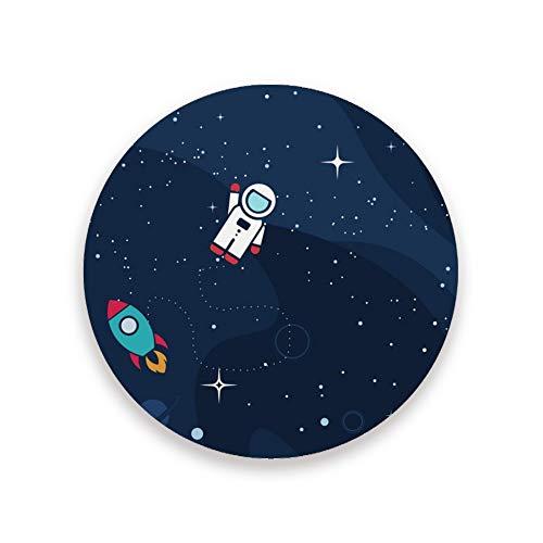 CHEHONG posavasos absorbentes para bebidas con diseño de astronauta y cohete de cerámica con base de corcho y taza de café, decoración del hogar, oficina, tazas de cristal, mesa de comedor de 1 2 4, Cerámica + base de corcho., Color, 2 unidades