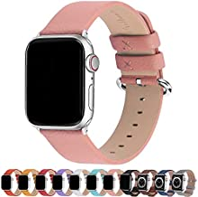 Fullmosa Compatible Apple Watch Band 42mm 44mm 40mm 38mm Calf Leather Compatible iWatch Band/Strap Compatible Apple Watch SE & Series 6 Series 5 Series 4 Series 3 Series 2 Series 1, 44mm 42mm Pink
