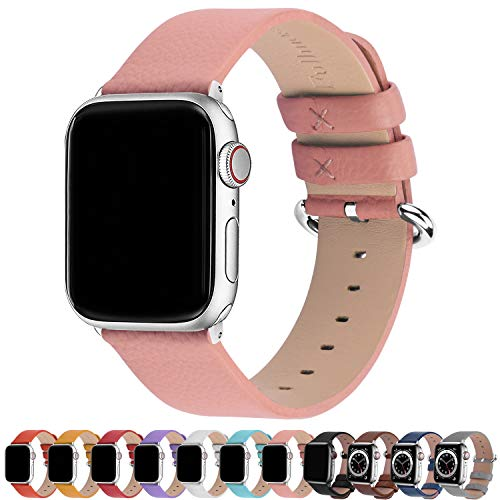 watch with pink bands Fullmosa Compatible Apple Watch Band 42mm 44mm 40mm 38mm Calf Leather Compatible iWatch Band/Strap Compatible Apple Watch SE & Series 6 Series 5 Series 4 Series 3 Series 2 Series 1, 44mm 42mm Pink