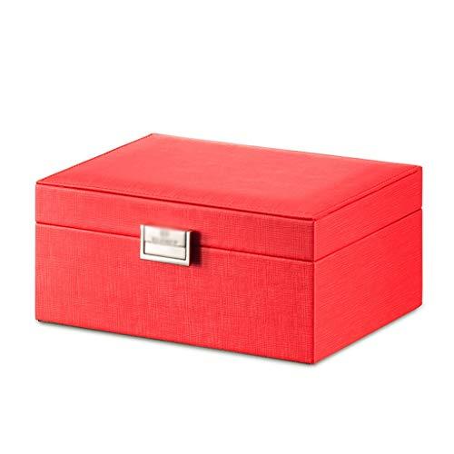 guoqunshop Titular de Collar Alta Capacidad de Espejo joyero de Cuero Organizador PVC joyería de Madera Decorativa Caja de Almacenamiento Organizador de Joyas (Color : Red)