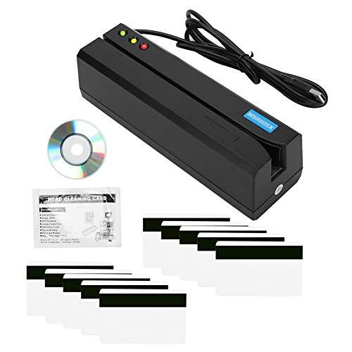 Lector de tarjetas de banda magnética USB, escritor de lector de tarjetas de banda magnética USB de 3 pistas Lector de tarjetas de crédito POS Magstripe para mini lector MSR605X Swiper