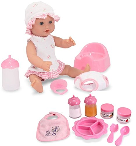 Melissa & Doug Bundle Includes 2 Items Mine to Love Annie 12-Inch Drink and Wet Poseable Baby Doll with Potty, Bottle, Pacifier, Diaper, Dress Mine to Love Time to Eat Doll
