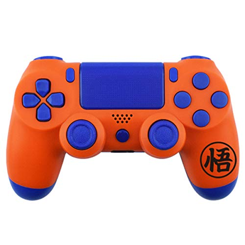 Matt Finish Full Housing Shell Case Cover Mod Kit Replacement for PS4 SLIM PS4 PRO Controller(Model JDM-040) Including Front Faceplate Bottom Shell Buttons DIY Custom Free Sticker Tools Orange Blue