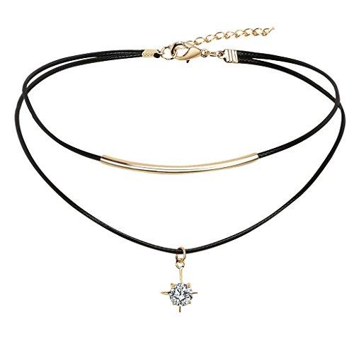 Epinki Damen Choker, Doppelt Halskette Schlangenhaut Muster Leder Stern Form Anhänger Rock Hoker Gothic Halsband Kropfband Schwarz Gold 33.7+5.1CM mit Zirkonia