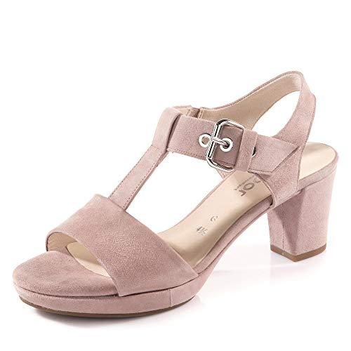 Gabor Comfort 22.394-35 Damen elegante Sandalette aus Veloursleder in Weite G, Groesse 41 1/2, rosé