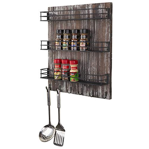 MyGift 3-Tier Torched Wood and Black Metal Wire Shelves...