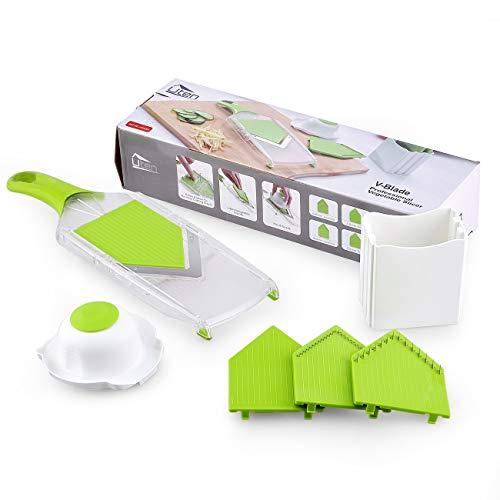 Uten, affettatrice Manuale per Verdure a Spirale, Facile da Pulire, utensile da Cucina per Patate, Carote, Cetriolo, ABS, Verde, 0,5 kg