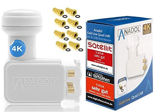 [Test 2X SEHR GUT] Anadol Gold Line Digitaler Quad-LNB- 0.1dB Rauschmaß - Wetterschutz LNB - Full HD-TV 3D 4K Ultra-HD - Digitaler 4fach-LNB für Satellit - LNB inkl. 8 vergoldete F-Stecker