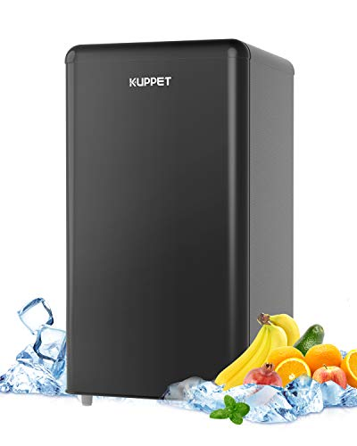 KUPPET Compact Refrigerator, Mini fridge with Thermostat Adjustable for Bedroom, Drom, Apartment, Garage, Office, Single Door Mini Fridge, 3.5 Cu.Ft (Black)
