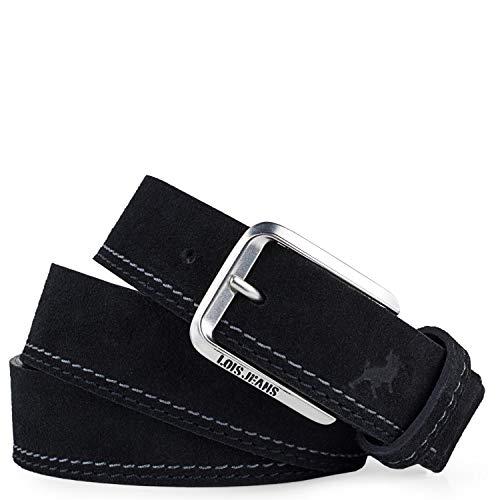 Lois - Cinturon Piel Serraje Ante Cuero Hombre Mujer. Hecho en ESPAÑA. Marca 35 mm Ancho. Talla Ajustable 501012, Color Negro
