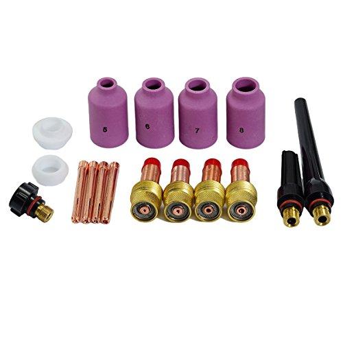 TIG lente de gas Coronilla Cuerpo boquillas de cerámica Tapa trasera Kit Ajuste DB SR WP17 18 26 accesorios de antorcha de soldadura TIG consumibles 17pcs