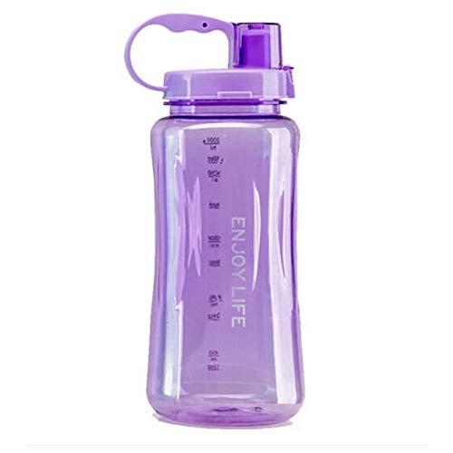 Fastdisk Botella de Agua de Gran Capacidad 2L, Boca Ancha portátil, Gran plástico watera verfugas Taza Espacial, Tazas de Viaje Gratis BPA con Escala, Paja