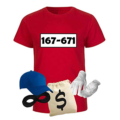 T-Shirt Panzerknacker Kostüm-Set Wunschnummer Cap Maske Karneval Kids 98-164 Sitzung, Größe:Gr. 152/164 (12-14 Jahre), Logo & Set:Standard-Nr./Set Deluxe+ (167-761/Shirt+Cap+Maske+Hands.+Beutel)