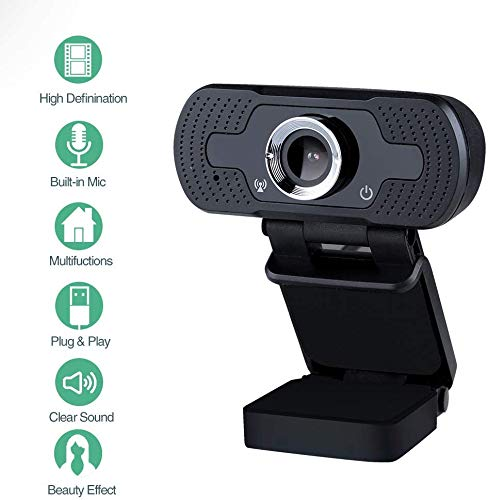 infinitoo Webcam 1080P Full HD mit Mikrofon, Autofokus USB Kamera Facecam Webkamera, PC/Xbox One/Mac/ChromeOS/Android, Schwarz