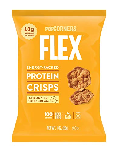 Popcorners Flex Protein Crisps, Cheddar & Sour Cream, 1 oz, 20 Count