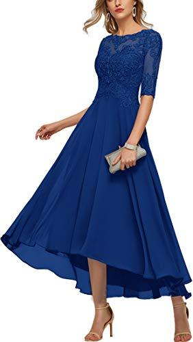 Women's Scoop Neck Tea Length Chiffon Evening Dresses Mother Dresses for Wedding Royal Blue 12