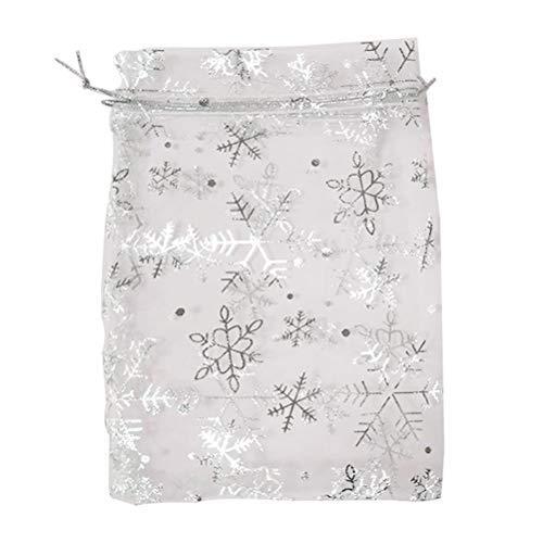 IMIKEYA Sacchetti regalo natalizio, 100 pezzi Borsa filato fiocco di neve dorato per festival di Natale (bianco)