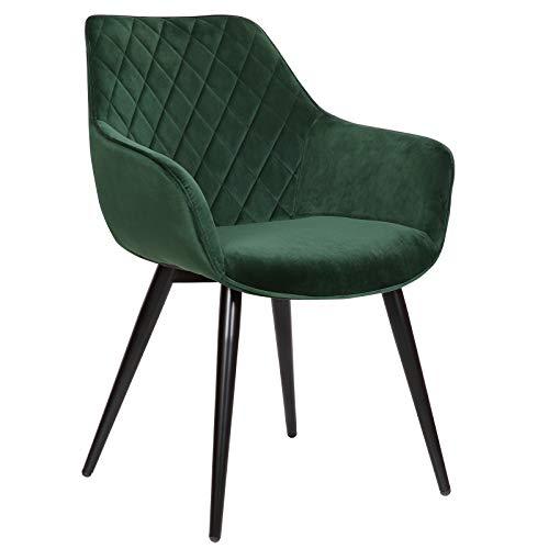 WOLTU Esszimmerstühle BH153gn-1 1x Küchenstuhl Wohnzimmerstuhl Polsterstuhl mit Armlehen Design Stuhl Samt Metall Grün