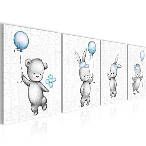 Bilder Set mehrteilig Kinderzimmer Tiere Wandbilder Wohnzimmer XXL 160 x 50 cm Blau Grau Modern 0178c