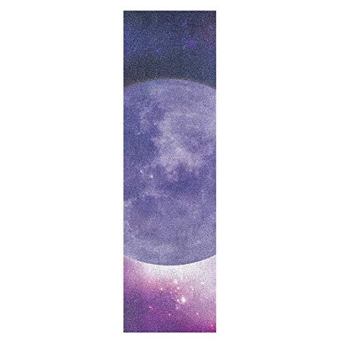 Espacio Estrella Luna Luz Monopatín Papel de Lija Antideslizante Hoja Cinta de Agarre Lijas para Patineta Scooter Etiquetas engomadas (84 x 23 cm)