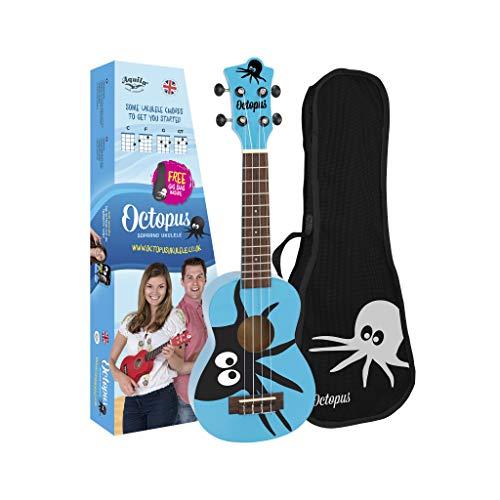 Octopus Ukelele soprano con diseño de pulpo en azul