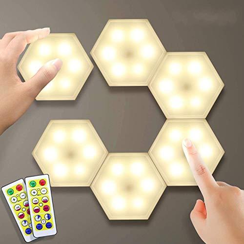 Lightess Luci Armadio LED Luce Guardaroba Luce Notturna Dimmerabili Creativo Lampada da Parete Interno Lampada Esagonale Geometria Sensibile al tocco Illuminazione per Vetrine (bianco caldo, 6 pezzi)