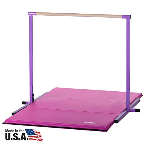 Nimble Sports 4 Feet High Purple Horizontal Bar and 4 Feet X 6 Feet Pink Folding Gym Mat