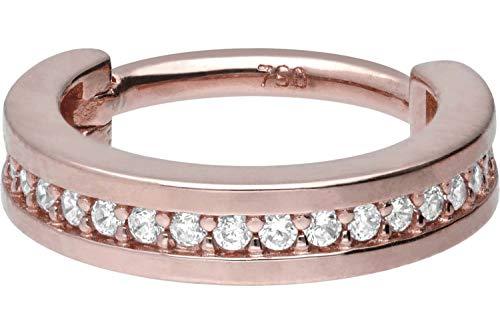 PIERCINGLINE 750er Gold Segmentring Clicker | 18 KARAT | EINGEFASSTE KRISTALLE | Piercing Ring Nase Septum Ohr Helix | Farb & Größenauswahl