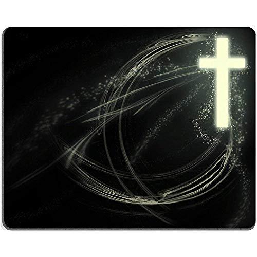 Christliche Christus-Kreuz-Religion Jesus Mauspads Umweltfreundliches Tuch mit Neopren-Gummi-Spiel Mouse_Pad 25 x 30 cm
